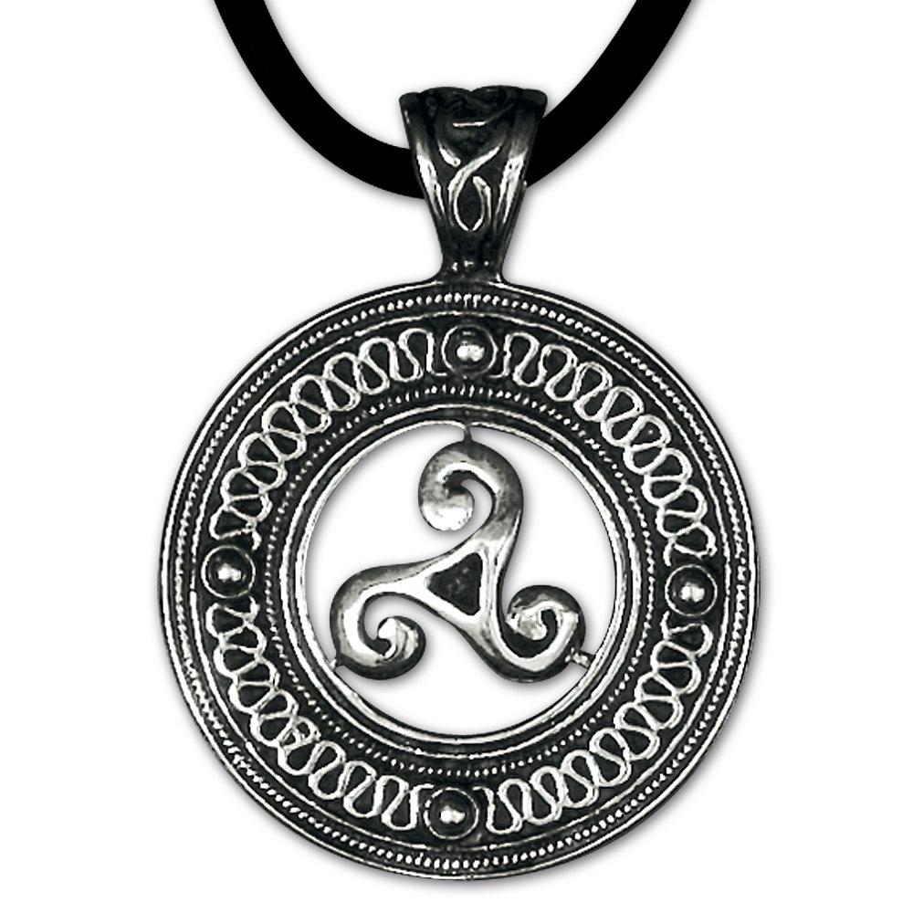 Keltischer Anhänger Triskele Dreierwirbel 925er Silber Schmuck Schutzamulett mit Lederhalsband Schmucksäckchen und Karte 5400 DarkDragon 66155478782564EDS5400