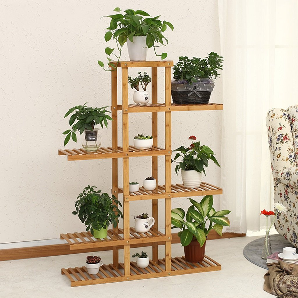 LIZX 6 Tier Asymmetrical Bamboo Flower Rack Balcony Multi - Layer Flower Pots Rack Living Room Interior Multi - Purpose Shelves Potted Display Stand by Flower Pot Stand