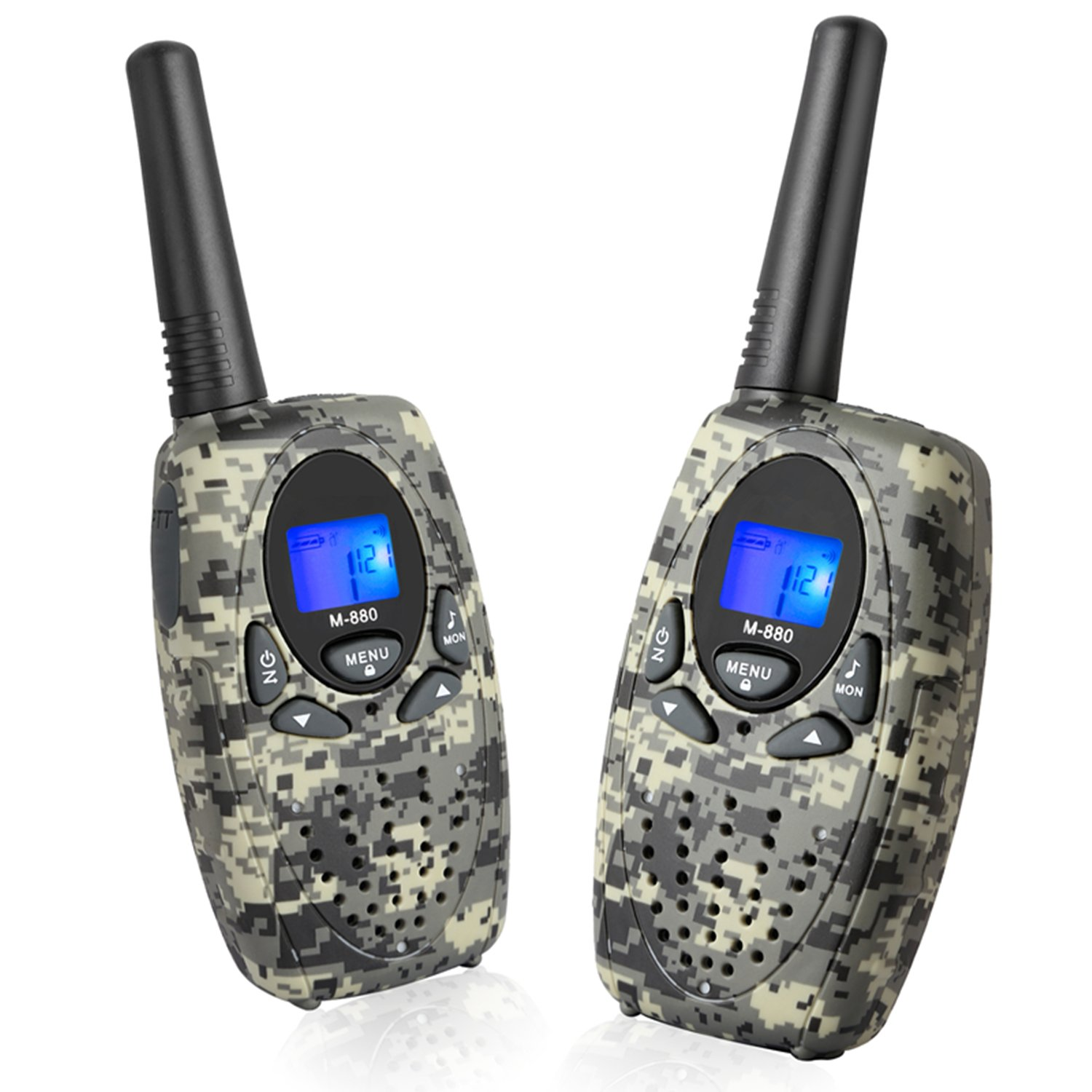 Two Way Radios Long Range, Topsung M880 FRS Walkie Talkie for Adults with Mic LCD Screen/Portable Wakie-Talkie with 22 Channel 3Mile for Children Camping Hiking Hunting Fishing (Camo 2 in 1)