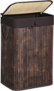 SONGMICS Bamboo Laundry Hamper, Laundry Basket with Lid, 19 Gal (72L) with Liner and Handles, in Bedroom Closet Laundry, Rustic Brown ULCB10WN