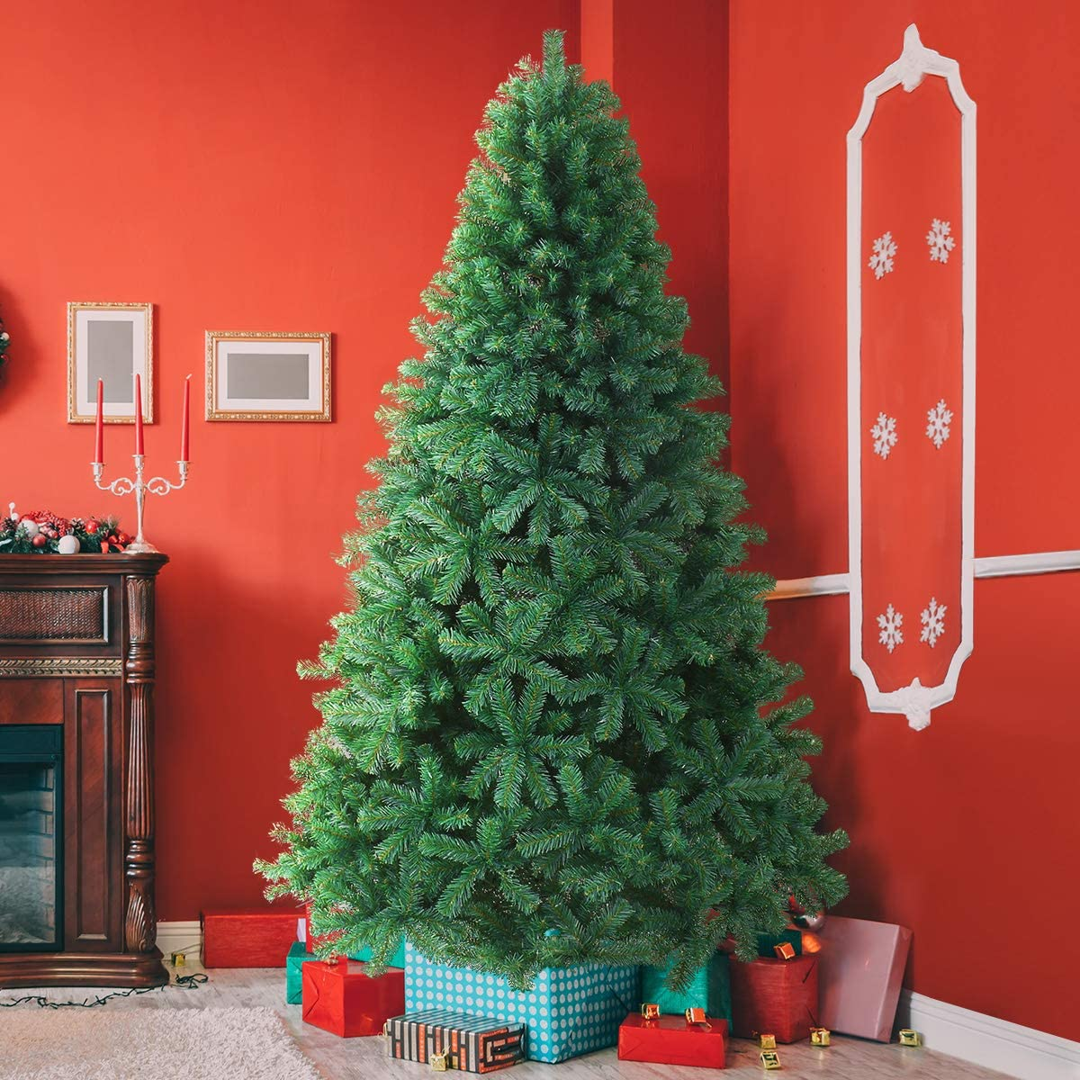 KING BIRD Christmas Tree Premium Spruce Hinged Artificial Xmas Tree 1616 Branch Tips with Foldable Metal Stand Pop Up Pine Tree for Outdoor and Indoor Decor 8FT