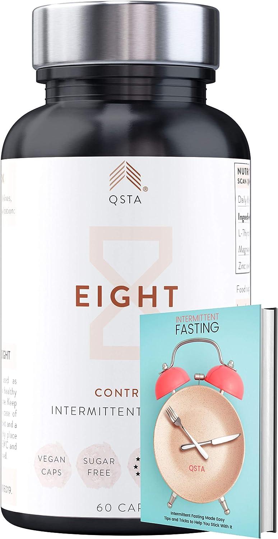 EIGHT (60 CAPS) - CONTROLA Ansiedad de Comer durante el Ayuno Intermitente, Promueve Keto durante el Ayuno, No Rompe Ayuno, Ebook Vol 2/3 + Apoyo 1-a-1, Tirosina + Magnesio + Zinc + VEGANO