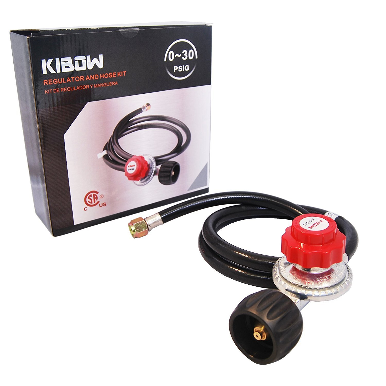 KIBOW 0~30PSI High Pressure Adjustable Propane Regulator with 4FT Hose-Type 1(QCC 1) Connection-CSA Certified by KIBOW (Image #5)