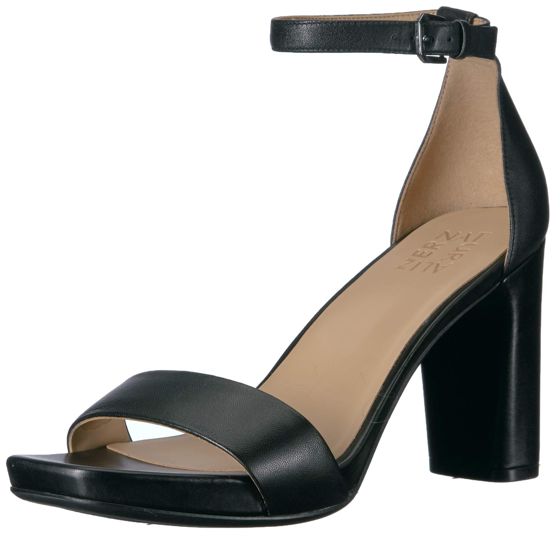 Naturalizer Women's Joy Heeled Sandal, Black Leather, 7 M US by Naturalizer