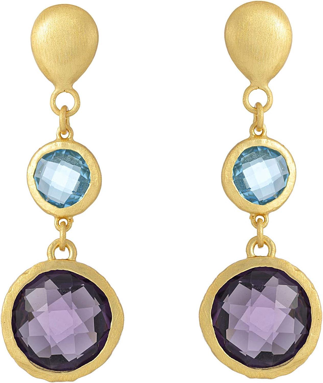 Silverly Pendientes Piedra Azul Púrpura Mujer Plata de Ley Esterlina .925 Chapada en Oro Cepillado