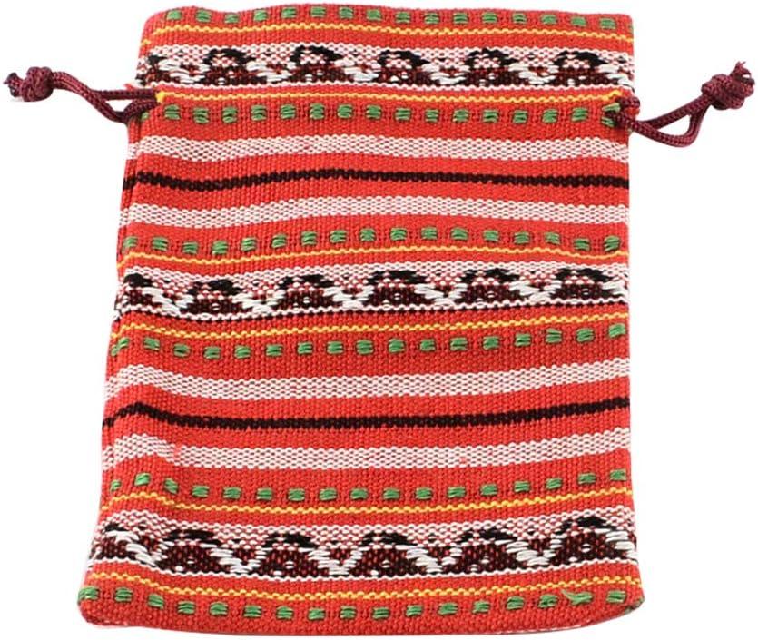 5 Pcs 10 /× 14cm Orange Cordon en Tissu Ethnique Petites Pochettes pour Mariage Favor Emballage de Bijoux nbeads Sac en Toile de Jute