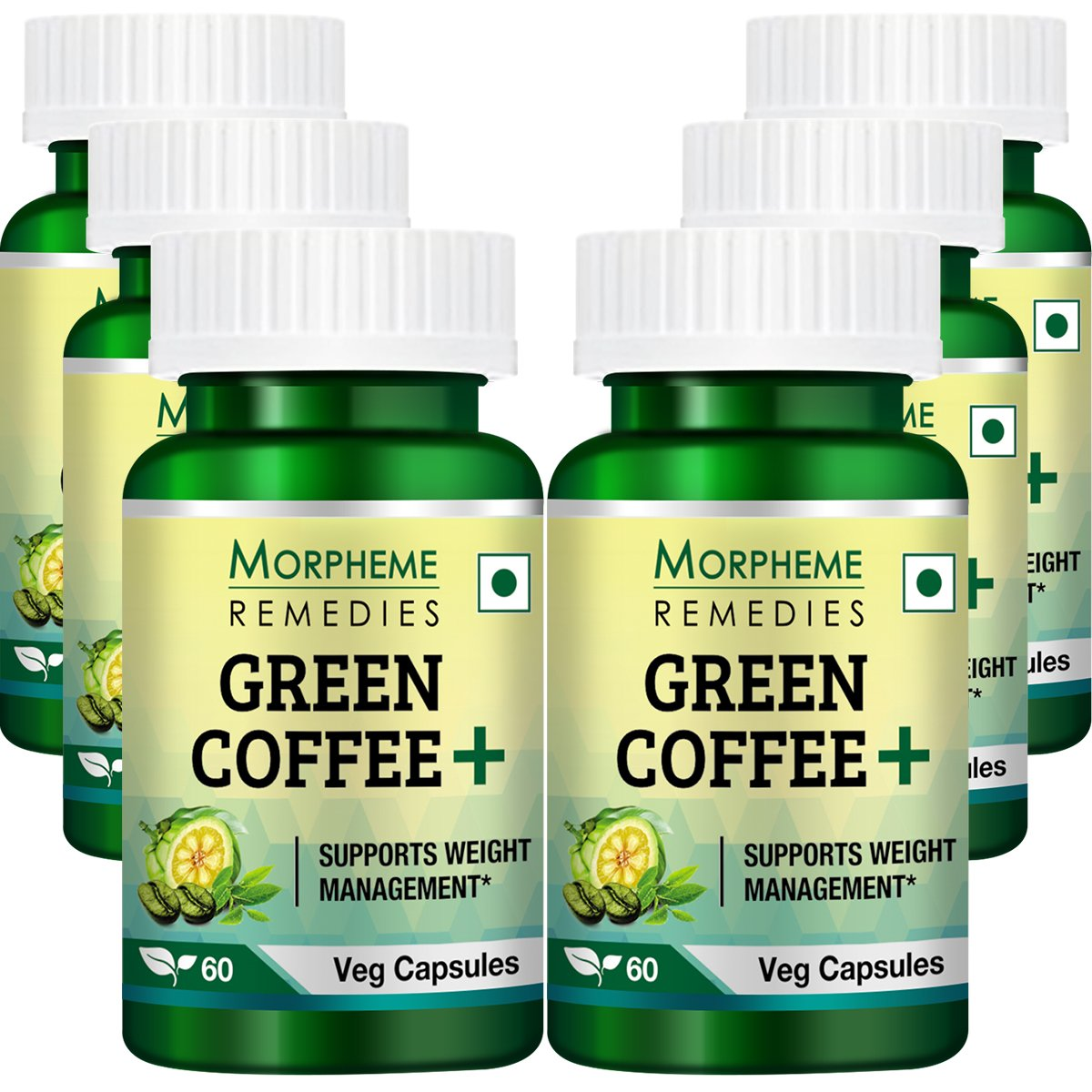 Morpheme Green Coffee+ (Garcinia + Green Coffee + Green Tea) 60 Veg Caps - 6 Bottles