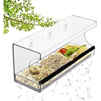 Window Bird Feeder Drain Holes 3 Heavy Duty Suction Cups with Hooks Mount to Glass Removable Tray for Wild Birds Finch