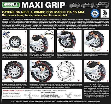 15 mm Cora 000142115 Catene da Neve per Auto Cora Maxi Grip Gruppo 115