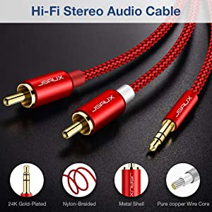 JSAUX RCA Cable, [6.6ft/2M, Dual Shielded Gold-Plated] 3.5mm Male to 2RCA Male Stereo Audio Adapter Coaxial Cable Nylon Braided AUX RCA Y Cord for Smartphones, MP3, Tablets, Speakers, HDTV [Red] (Color: Red, Tamaño: 6.6ft)