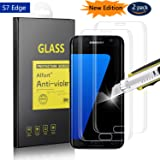 [2 Pack] Samsung Galaxy S7 Edge Screen Protector, Alfort Tempered Glass Screen Protector Film [Full Coverage] 0.3mm 9H Hardness Protective Film for Samsung Galaxy S7 Edge Smartphone [Transparent 1]