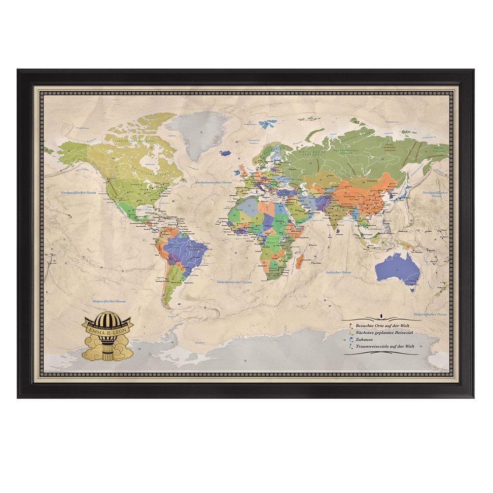 Casa Vivente Edle Reise-Weltkarte - Pinnwand [NAMEN] XXL - personalisiert mit [NAMEN] Pinnwand - im Echtholz-Rahmen mit Stecknadeln und Pins - inkl. individualisierter matt-goldener Plakette 70 x 100 cm … 362b5d