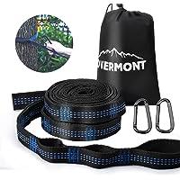 Overmont 1 Paar Hängematte Befestigungs-Set Aufhängeset Baum Riemen mit 18 Schlaufen 280cm*2,5cm max 300kg für Camping Wandern Picknick Outdoor Reise