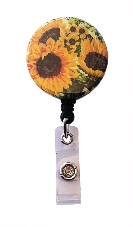 Sunflowers Retractable Badge Reel ID Badge Holder
