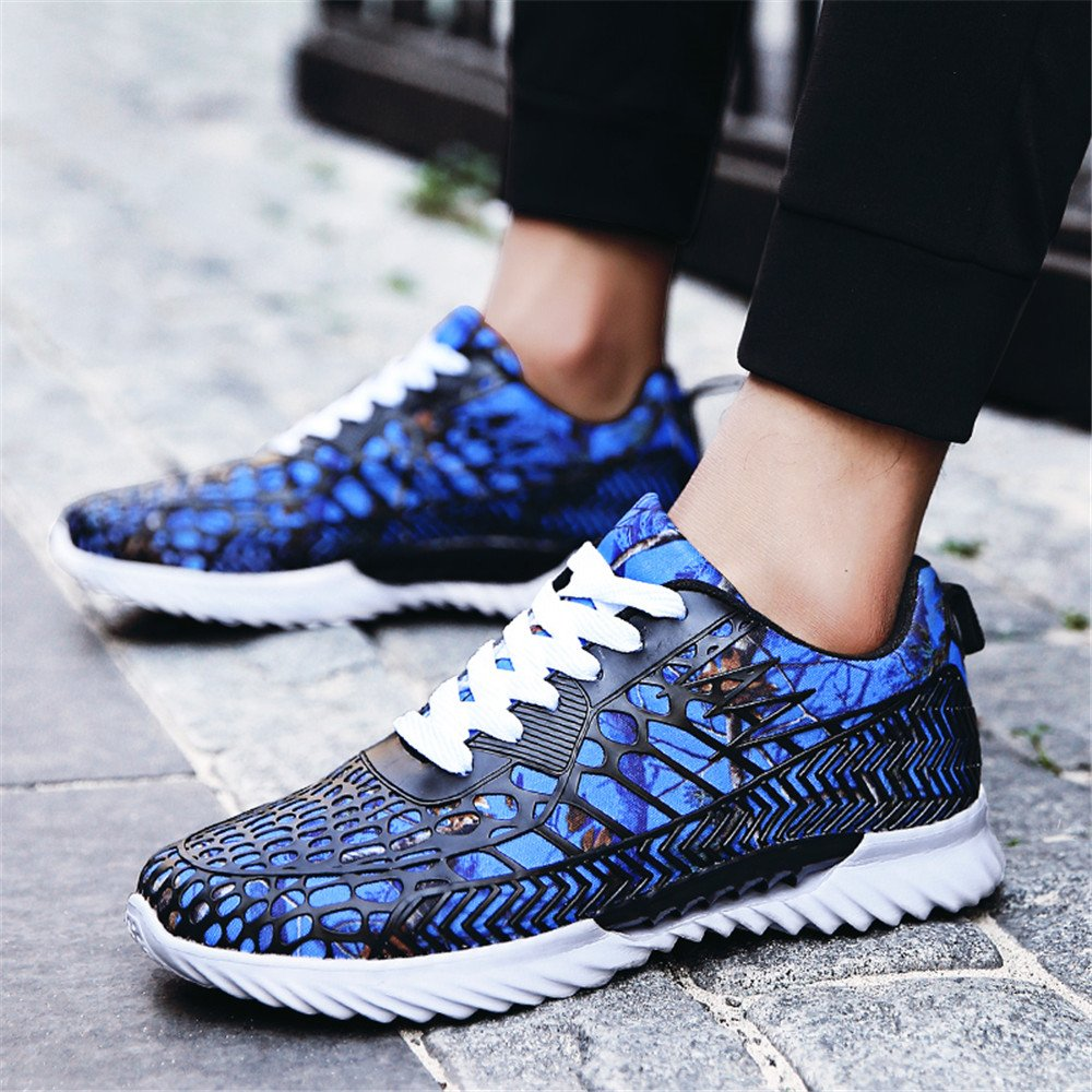XHY Men\'s Lightweight Breathable Sports Sneakers Casual Atheletic Running Shoes Jogging Climbing Gym Couples\' Blue Size 10.5(Men)