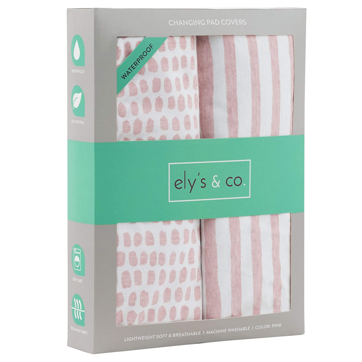 Cradle Sheet Set by Elys /& Co no Need for Changing Pad Liner Mauve Pink Splash /& Stripe 2 Pack for Baby Girl Waterproof Changing Pad Cover Set