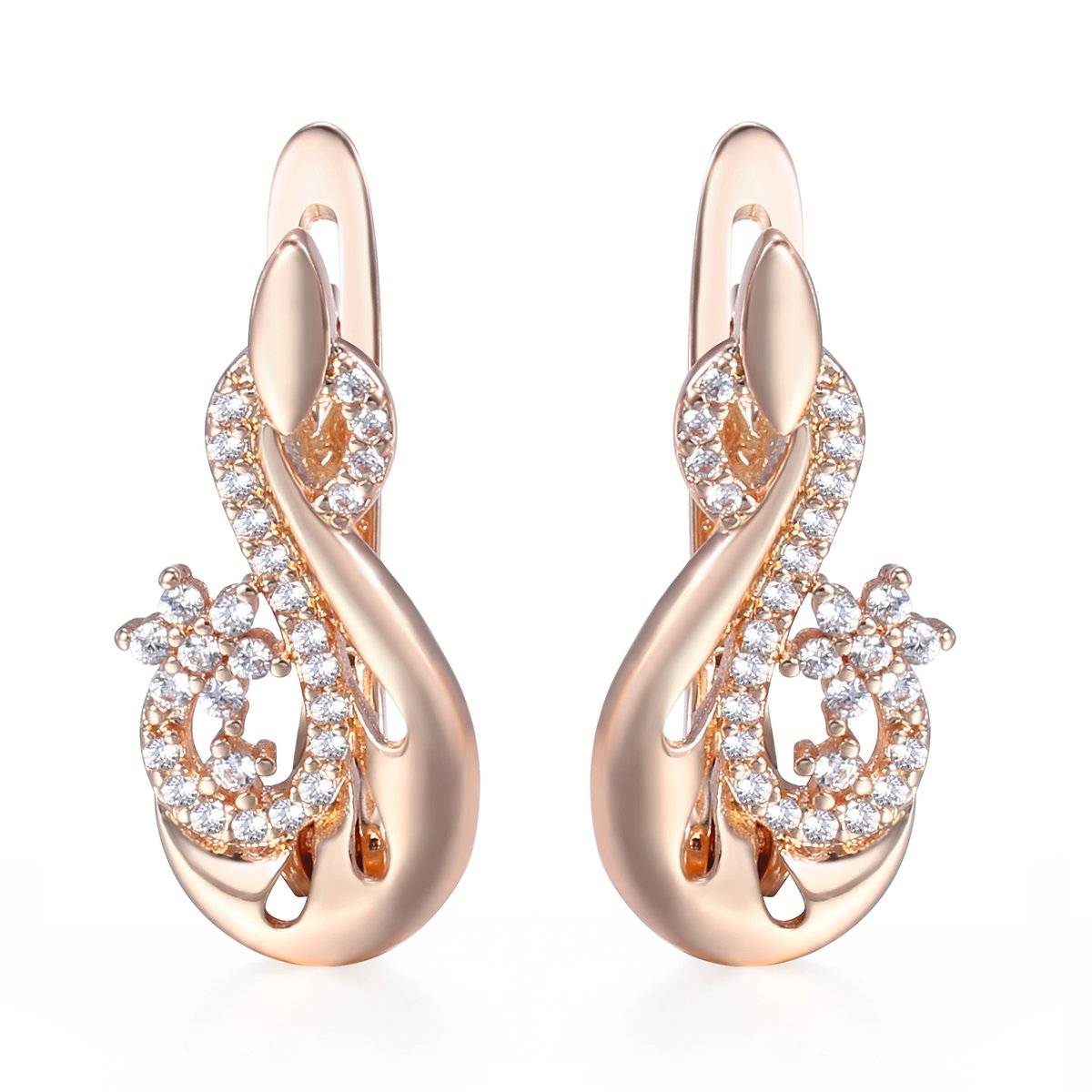 0024b1d4e Davieslee Paved Clear Cubic Zirconia CZ Flower Stud Earrings For Women 585  Rose Gold Plated Fashion Jewellery: Amazon.co.uk: Jewellery