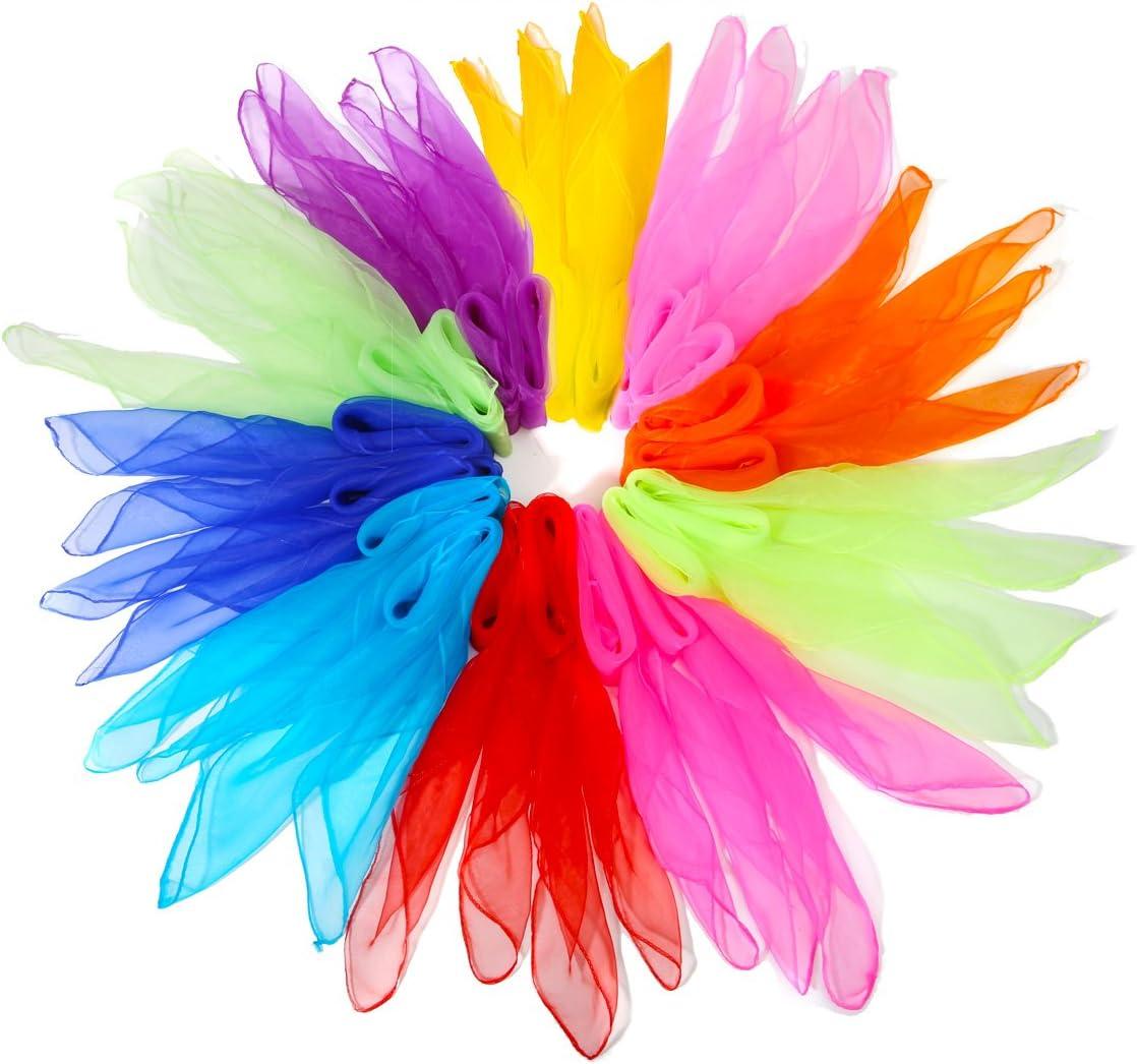 NASUM Dance Scarves, 20 Pieces Square Juggling Silk Dance Scarves Movement Scarves Magic Tricks Performance Props Accessories ,Random Color Delivery: Toys & Games