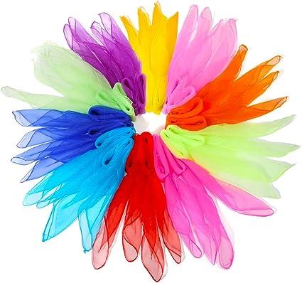 12Pcs Square Juggling Silk Dance Scarves Magic Tricks Performance Props Kid Toys