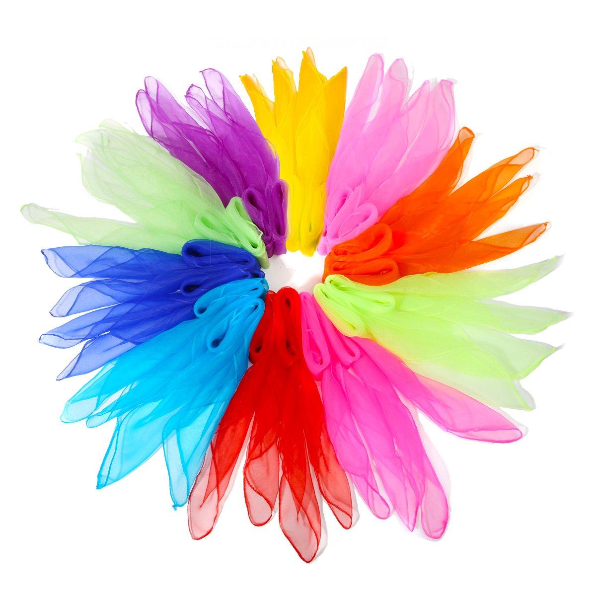NASUM Dance Scarves, 20 Pieces Square Juggling Silk Dance Scarves Movement Scarves Magic Tricks Performance Props Accessories ,Random Color Delivery