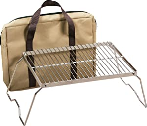 REDCAMP Folding Campfire Grill 304 Stainless Steel Grate, Heavy Duty Portable Camping Grill with Legs Carrying Bag, Medium/Large