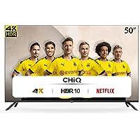 CHiQ Televisor Smart TV LED 50 Pulgadas 4K UHD, HDR 10/HLG, WiFi, Bluetooth (Solo Auriculares y Altavoces), Youtube…
