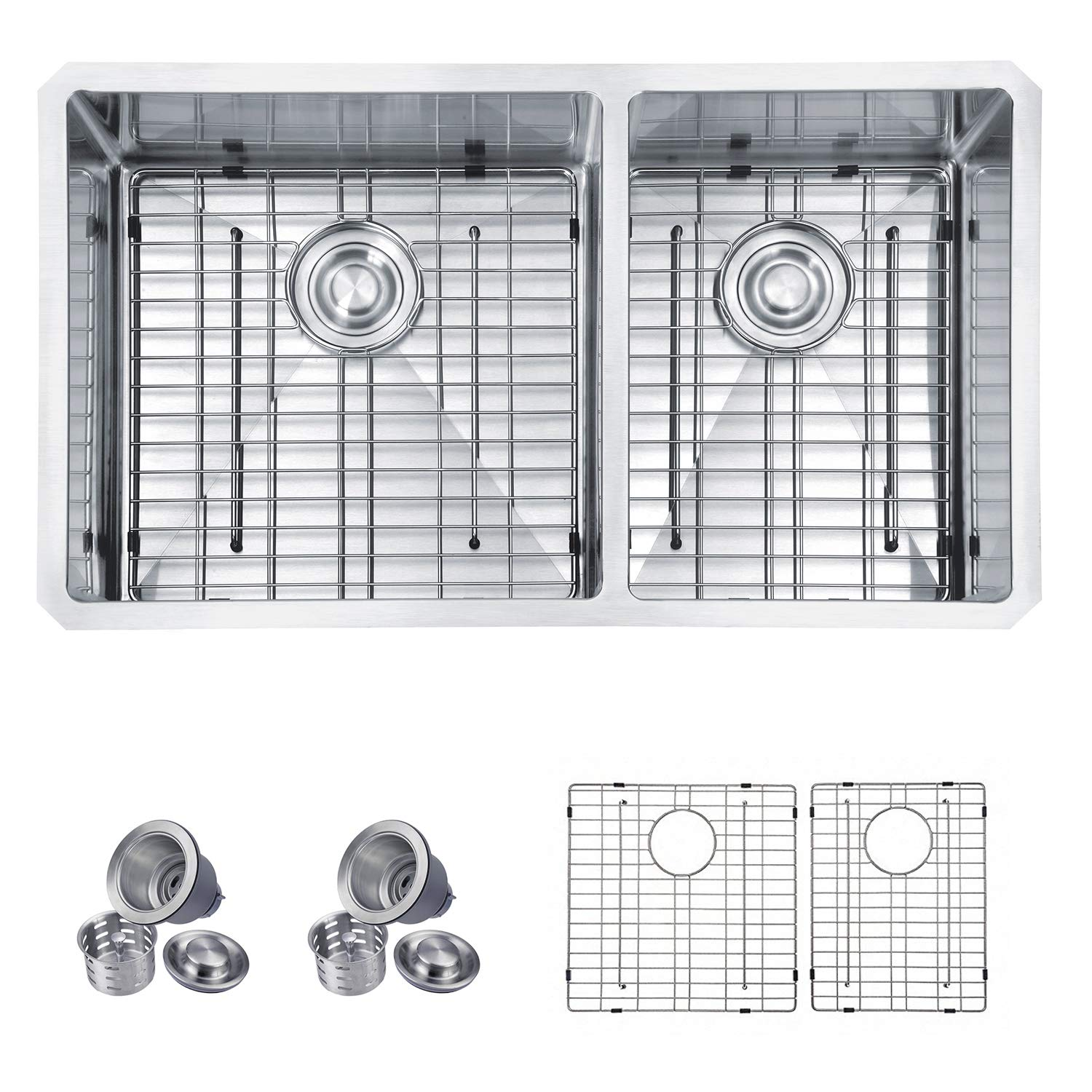 MOWA HUD33DO Pro Series Handmade 33'' 16 Gauge Stainless Steel Undermount 60/40 Double Kitchen Sink - Upgraded w/Perfect Drainage, Bonus Combo w/Soap Dispenser, Basket Strainers & Sink Grids