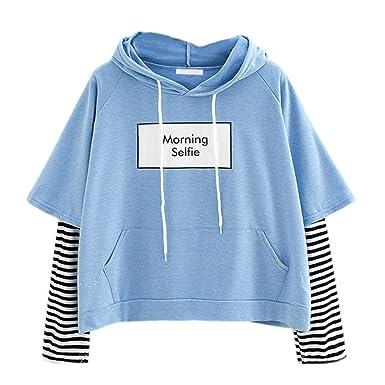 Frauen Ernte Sweatshirts,Moonuy Damenmädchen Herbst Sweatshirt Beiläufige  Mit Kapuze Langarm Ernte Patchwork Bluse Pullover c32a23abdd
