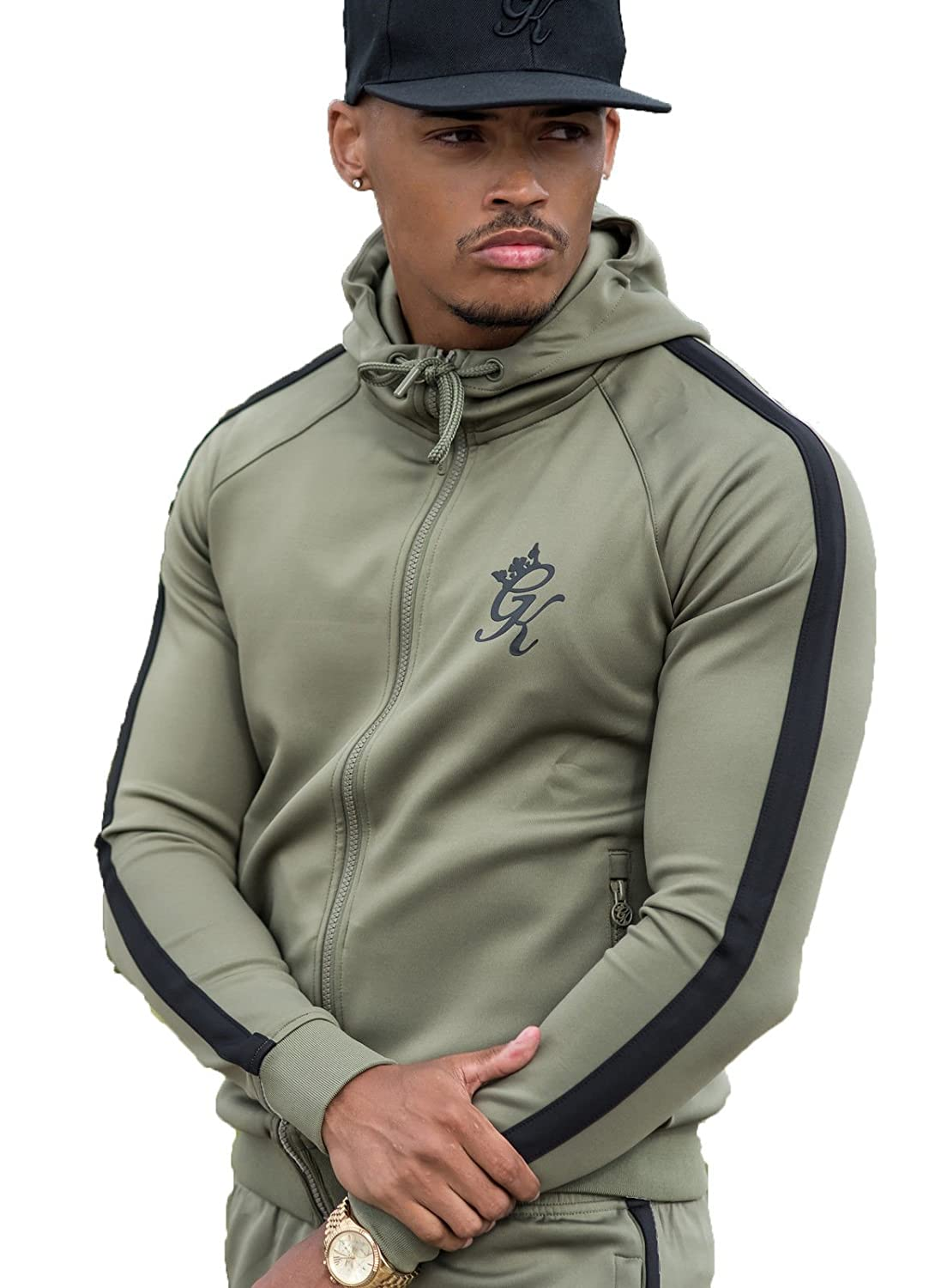 Gym King Hoody - Poly Tracksuit Top in Khaki