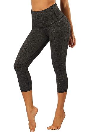 444e1e974c HAINES Capri Yoga Pants Gym Leggings Women High Waist 3/4 Running Sports  Trouders with Waistband: Amazon.co.uk: Clothing