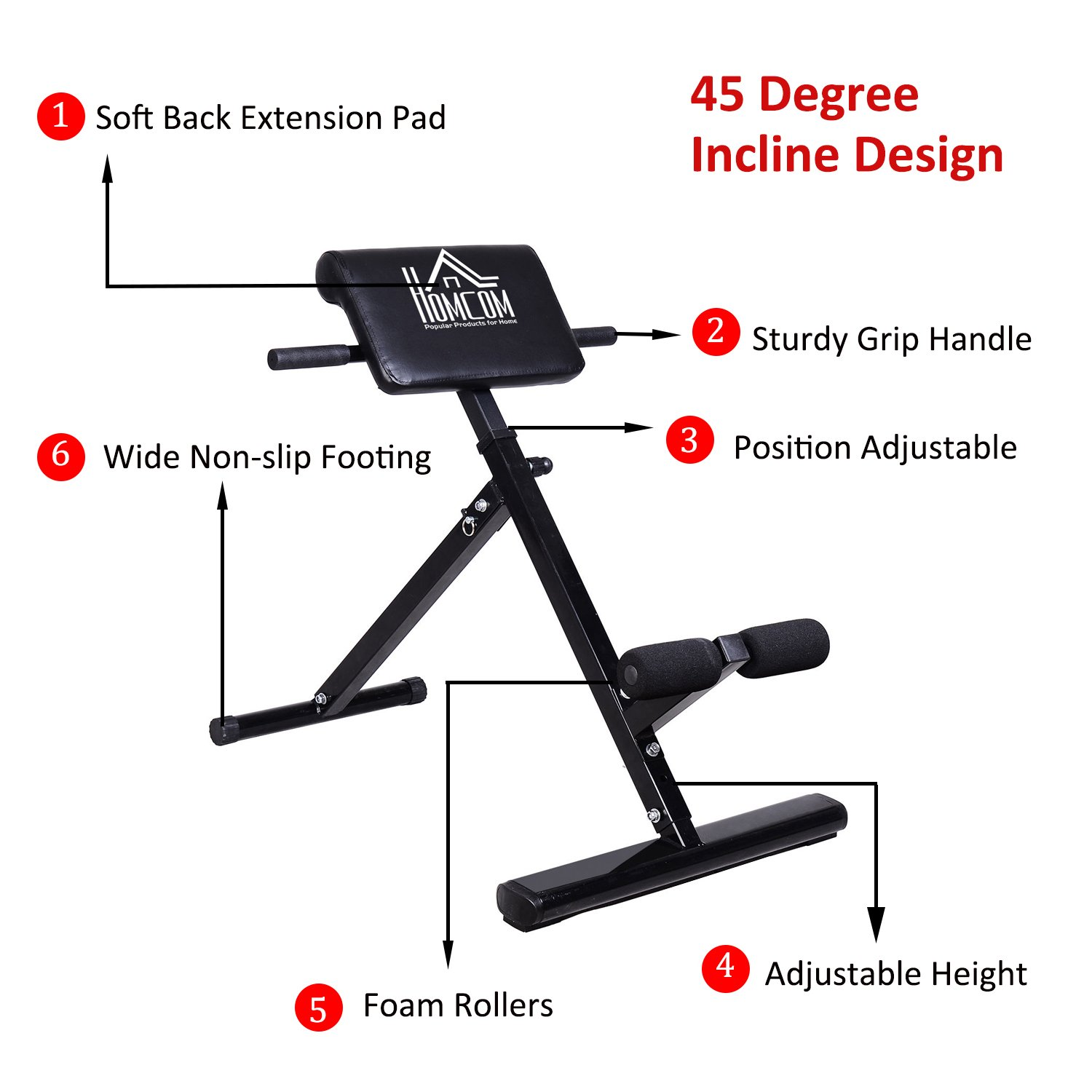 HOMCOM Hyper Extension Machine Fitness Bench Heavy Duty Steel Adjustable  Back Extension Abs Abdominal Bench- 45 Degrees - Black