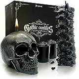 Spine & Skull Candle Set - Scented 4 Pack - Gothic Decor for Bedroom - Black Skull Decor for Home - Goth Room Decor - Kitchen
