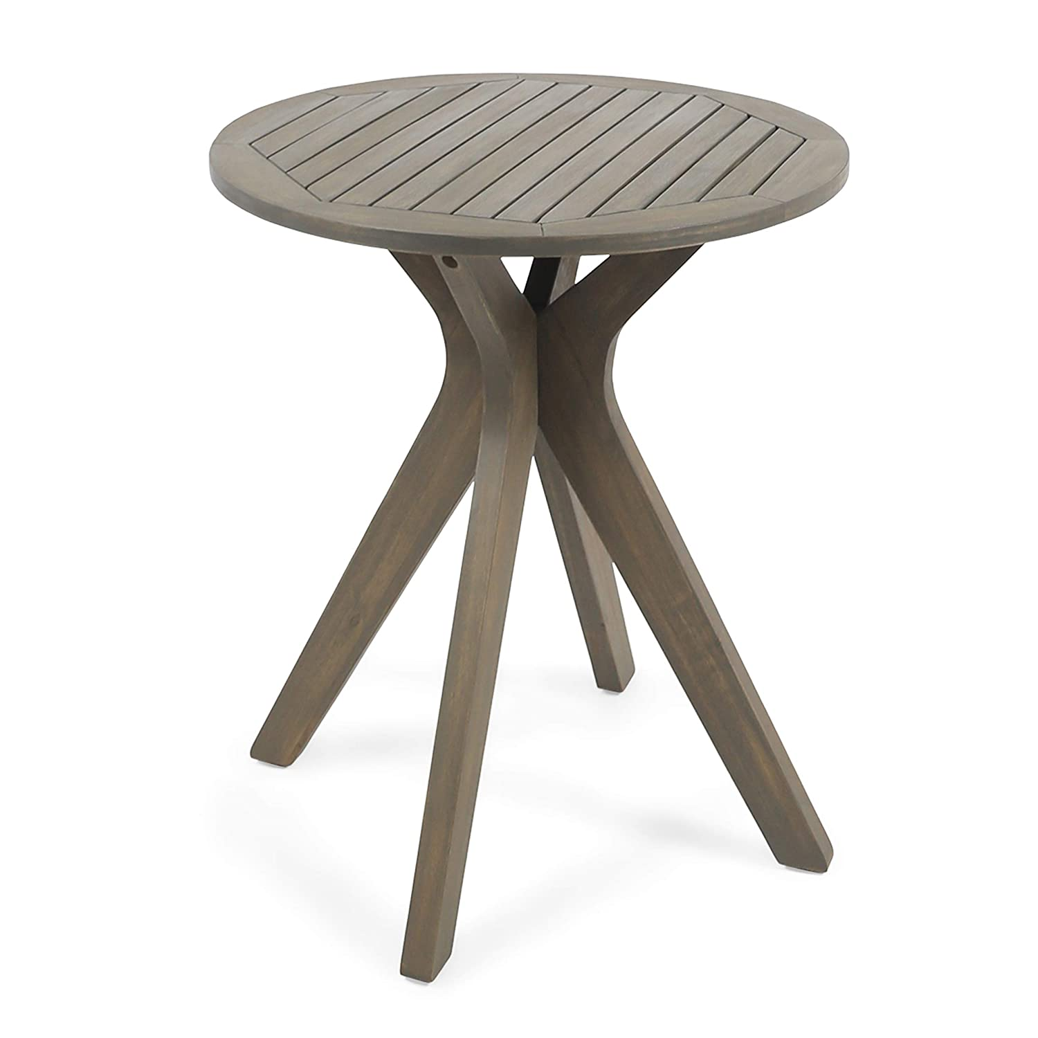 Christopher Knight Home 304871 Brigitte Outdoor Round Acacia Wood Bistro Table with X Legs, Grey: Industrial & Scientific