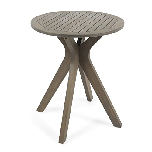 Christopher Knight Home 304871 Brigitte Outdoor Round Acacia Wood Bistro Table with X Legs, Grey