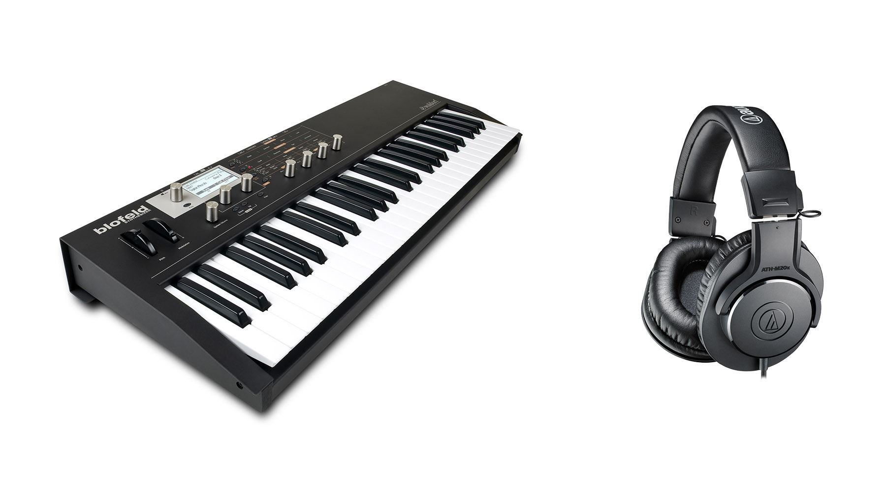Waldorf Black Blofeld Synthesizer Keyboard Bundle with Audio-Technica ATH-M20x Headphones (2 Items)