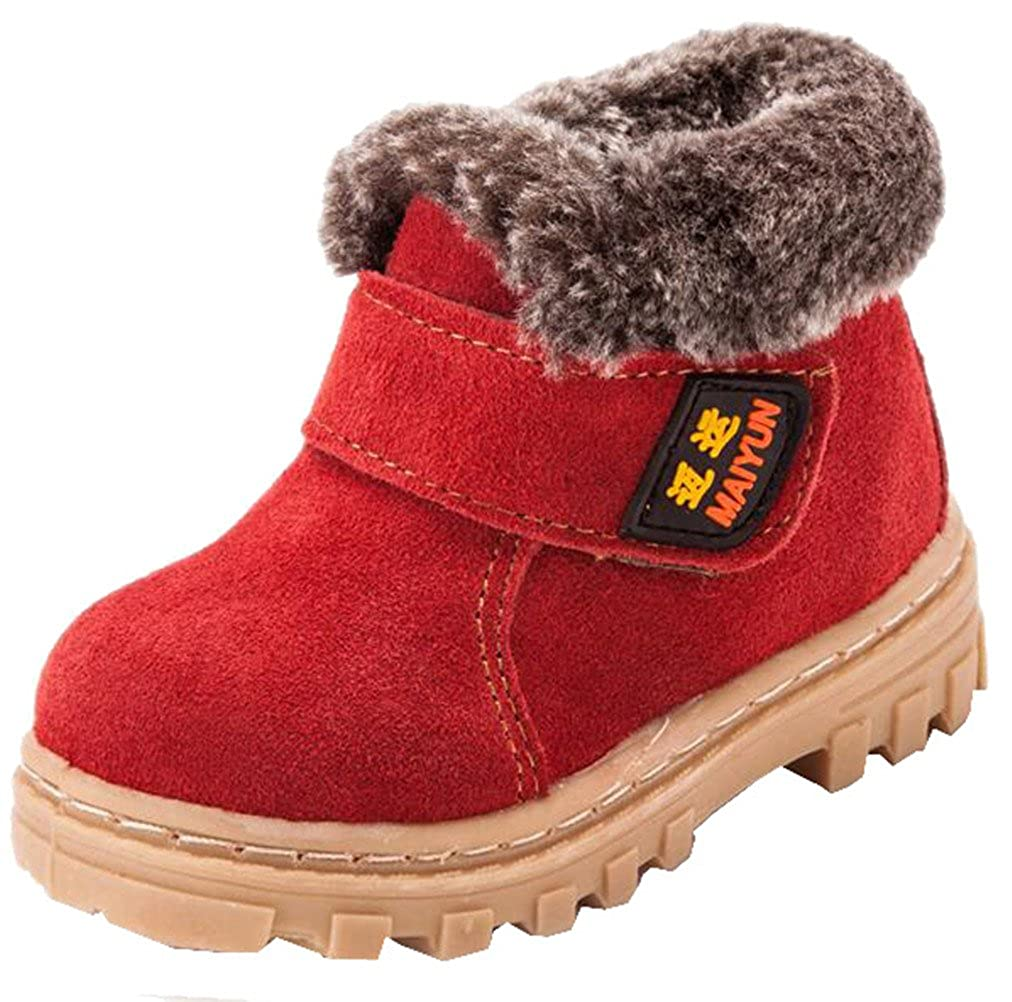 DADAWEN Boy's Girl's Suede Leather Outdoor Waterproof Fur Lined Winter Snow Boots (Toddler/Little Kid/Big Kid) 70426TL