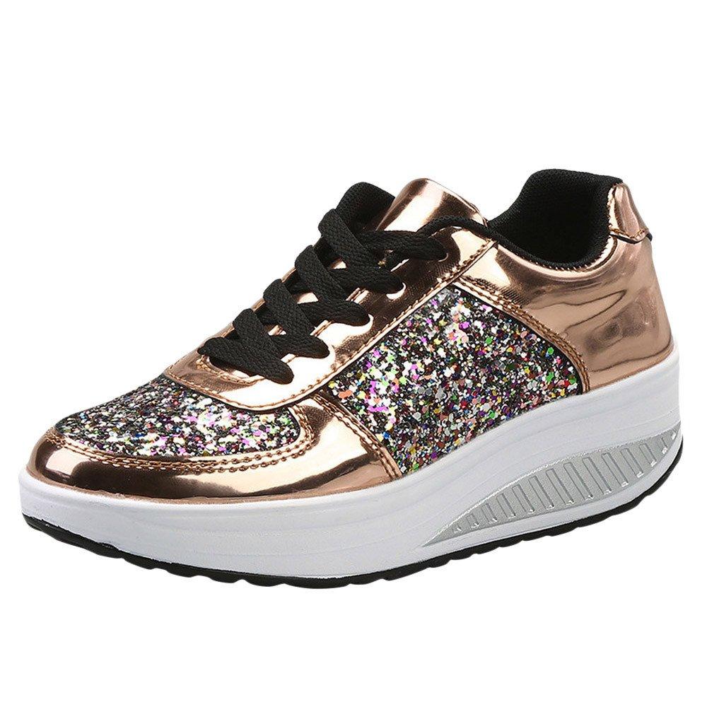 Kauneus Womens Lace Up Glitter Shoes Fashion Metallic Sequins Light Weight Sneaker by Kauneus Fashion Shoes