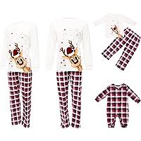 Christmas Parent-child Pajamas Family Matching Outfits Set, Reindeer Print T-shirts+Plaid Pants for Dad, Mom, Kids