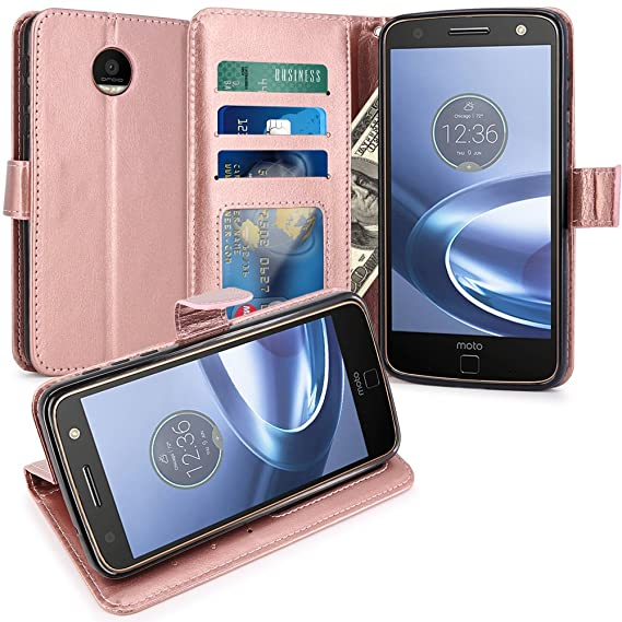 brand new a3309 5cd39 Moto Z Force Case, LK Luxury PU Leather Wallet Flip Protective Case Cover  with Card Slots & Stand For Motorola Moto Z Force Droid (Rose Gold)