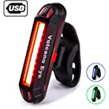 Volcano Eye Bike Rear Tail Light, USB Rechargeable LED Safety Light for Bicycle, Ultra Bright Waterproof Cycling Taillight, Red/Green/Blue 7 Light Modes Fits on Any Road or Mountain Bike