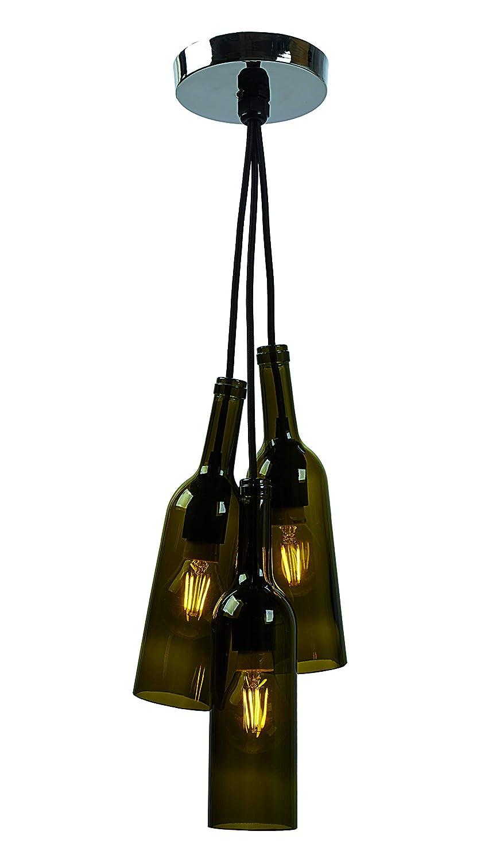 Lámpara Colgante con tres botellas de vidrio. Portalámparas ...