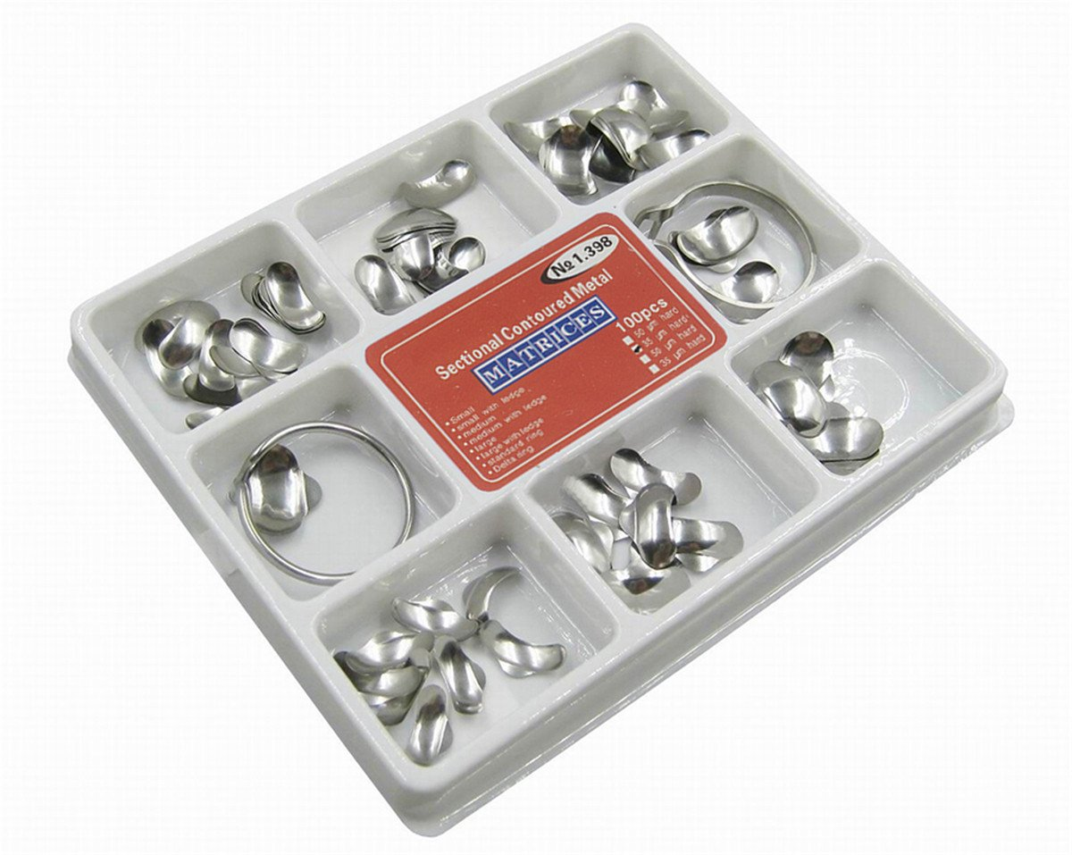 Angelwill Dental Matrix Sectional Contoured Metal Matrices with 2 Matrix Ring No.1.398 lmws 100Pcs