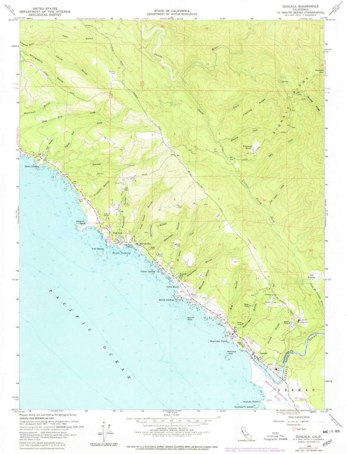 YellowMaps Gualala CA topo map, 1:24000 Scale, 7.5 X 7.5 Minute, Historical, 1977, Updated 1978, 26.9 x 22.1 in 7127XdFHX5L