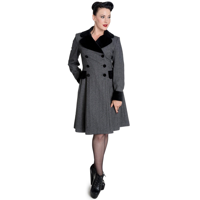 Hell Bunny Damen Vintage 50s Mantel Fischgrätmuster - Amazon Retro Wintermantel Herringbone Grau