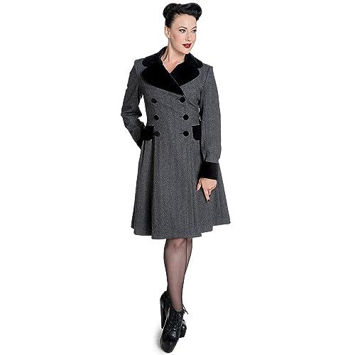 Hell Bunny Mujer Vintage 50s abrigo Herringbone–Abrigo de invierno para Amazon Retro Herringbone gri...