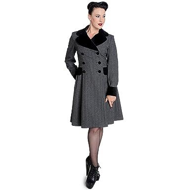 Hell Bunny Damen Vintage 50s Mantel Fischgrätmuster Amazon Retro