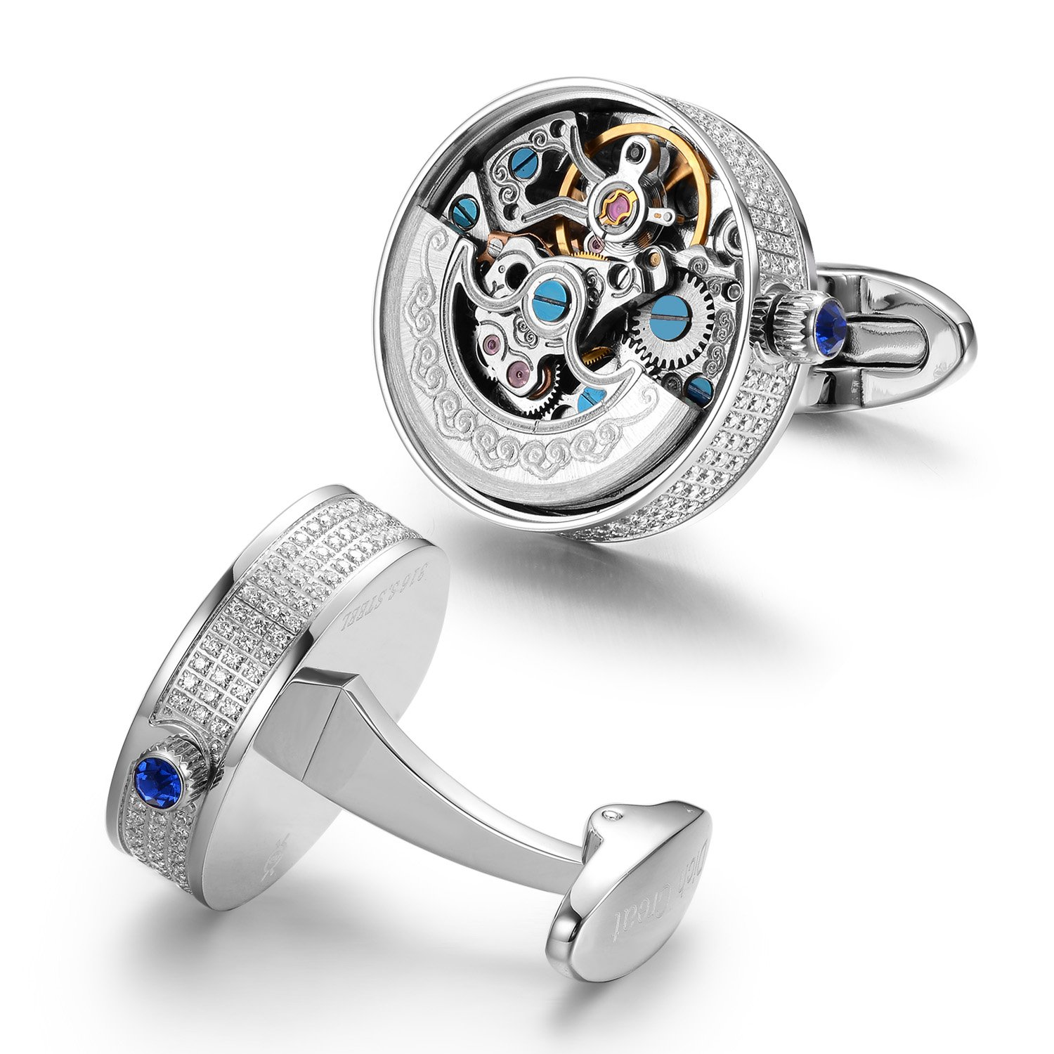 Dich Creat Stainless Steel Rhodium Plated Inlay Jewels Skeleton Automatic New Movement Cufflinks