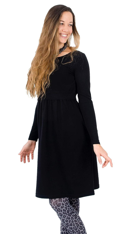 Gr/ö/ße: S-XL Elegante Stillmode f/ür diskretes Stillen schwarz figurschmeichelnd Mania Stillkleid Lilly Organic aus feiner Bio-Baumwolle /& Kaschmir A-Linie