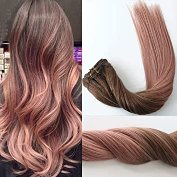 Silky Straight Rose Gold Ombre Highlights Balayage Hair Extensions