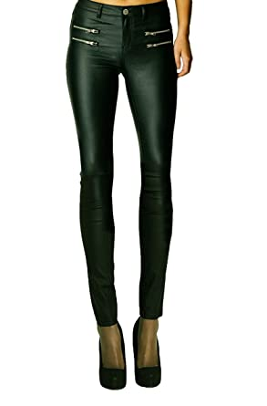 d1a8e21826f92 Womens Wet Look Sexy Glossy PU Stretch High Waisted Faux Leather Skinny Fit  Jeans Trousers Pants_RK